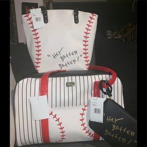 NWT Betsey Johnson baseball weekender and Tote